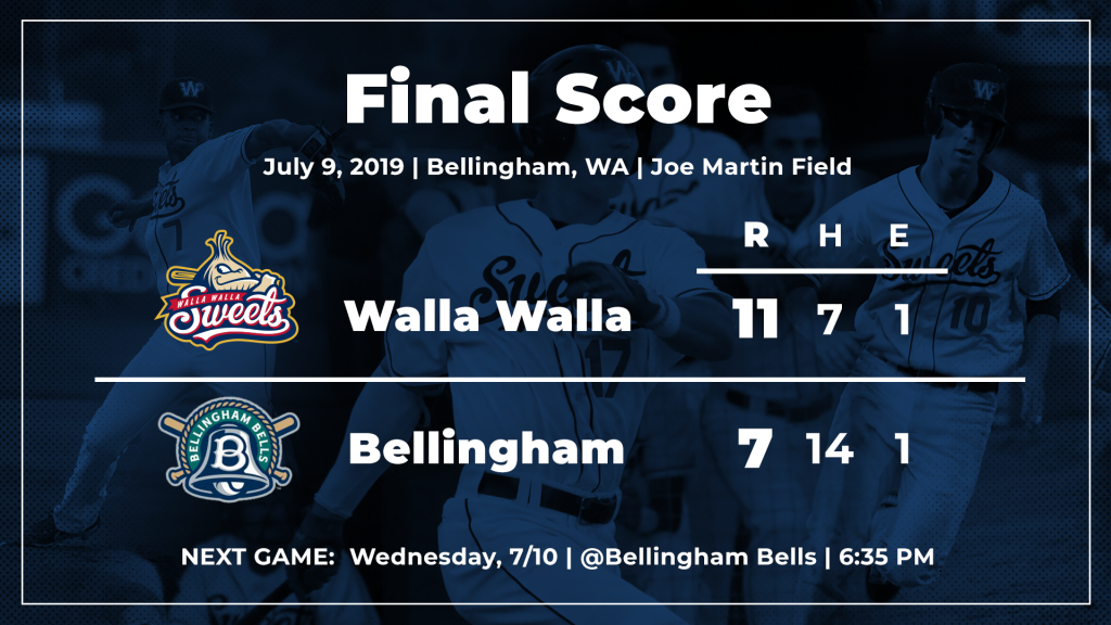 6ddeae02444be Walla Walla, which improved its record in Tuesday games against WCL  opposition to 4-1, play the rubber game of its series with the Bells  Wednesday night at ...